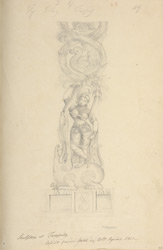 A temple column carved with a river goddess figure. 'C. Ignatius. Sculpture at Taarpuly copied from a sketch by Coll Agnew 1801.'